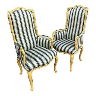 Yellow & Green Striped Upholstered Bergere Chairs - A Pair For Sale