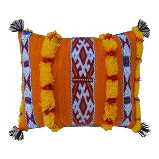 Vintage Moroccan Orange & Blue Stripes Wool Pillow For Sale