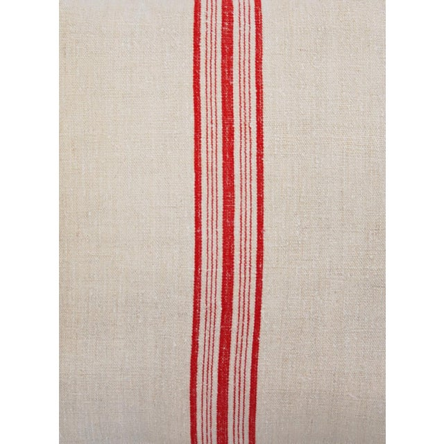 Red Stripe French Grain Sack Pillows - Pair - Image 3 of 11