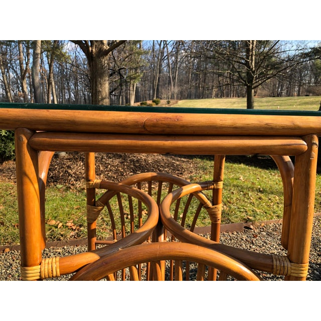 1970s Boho Chic Rattan and Bentwood Dining Set for Two - 3 Pieces For Sale - Image 5 of 13