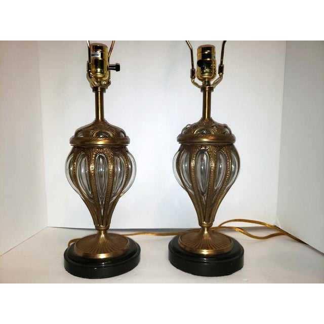 Murano & Brass Bubble Cage Art Glass Italian Table Lamps - a Pair For Sale - Image 6 of 13