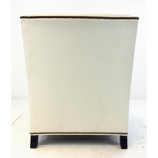 2010s Thomasville Transitional White Natural Cotton Club Chair For Sale - Image 5 of 6