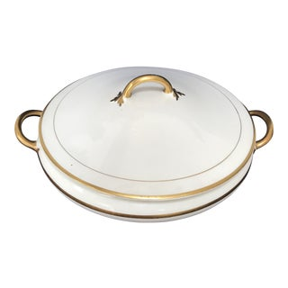 1940s Vintage Pope Gosser China Covered Gold Trim Serving Bowl For Sale