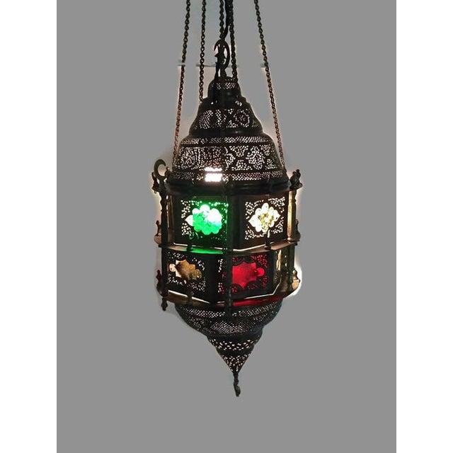 Antique Turkish Pierced Brass Pendant Lamp - Image 8 of 10