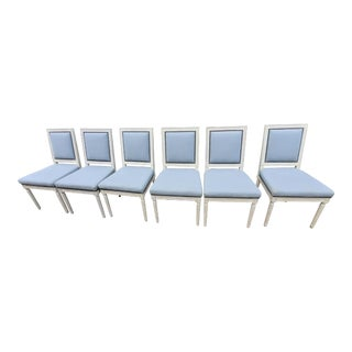 Designer Trim Bernhardt Upholstered Nail Trim Whitewashed Fluted Leg Chairs - Set of 6 For Sale