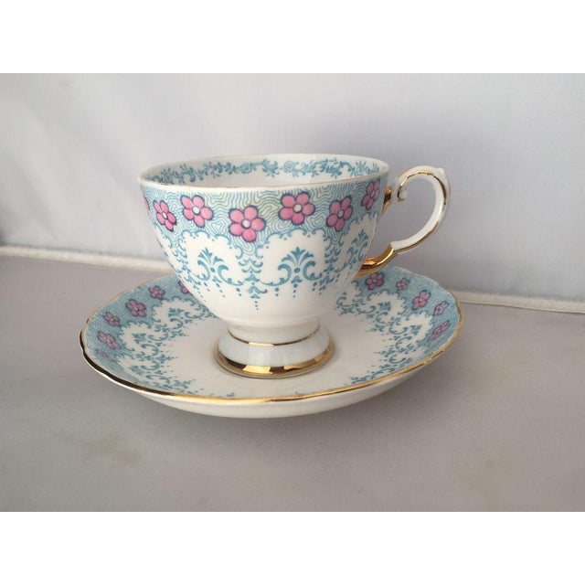 Floral Fine English Blue Bone China Tea Cup & Saucer - Image 4 of 5