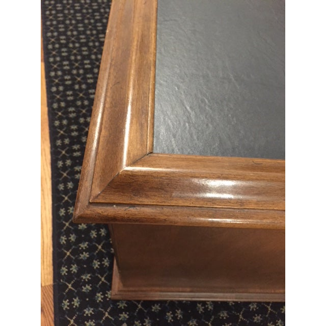 Brown Ethan Allen Mid-Century Traditional Slate Top Pecan End Table For Sale - Image 8 of 9
