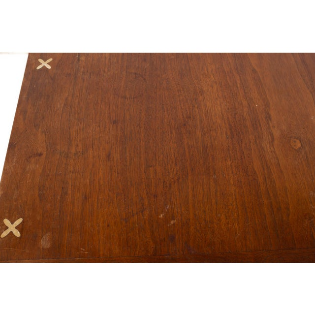 Merton Gershun for American of Martinsville Mid Century X Inlaid Walnut and White Laminate Coffee Table For Sale - Image 9 of 12