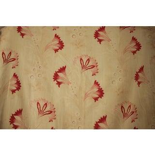 Vintage French Faded Fabric Art Nouveau Printed Cotton Antique Floral Textile 1900 For Sale