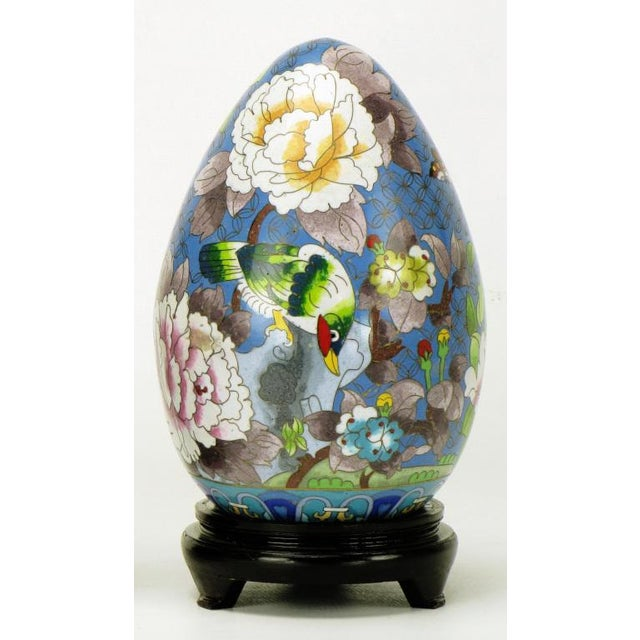 """Asian Pair 11.5"""" Colorful Cloisonne Eggs For Sale - Image 3 of 11"""