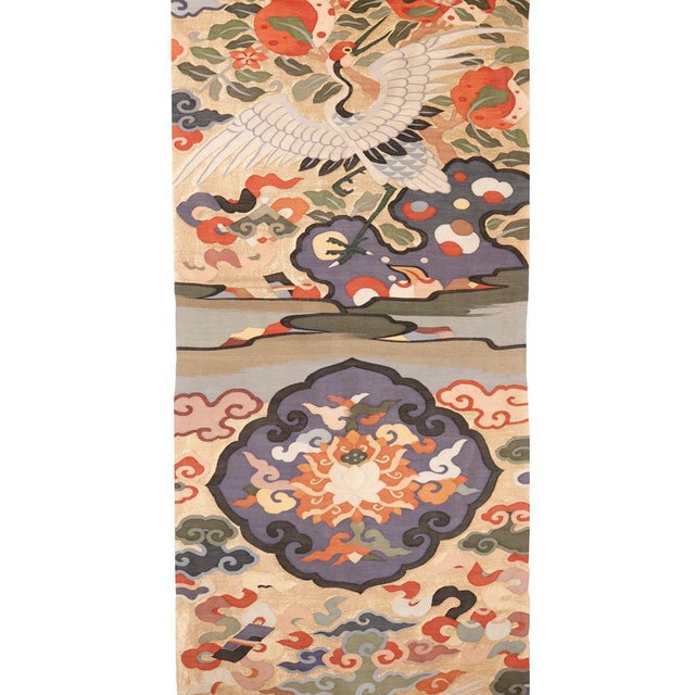 Chinese Antique Chinese Kesi Silk Tapestry Weave Chair Cover Panel Fabric For Sale - Image 3 of 13