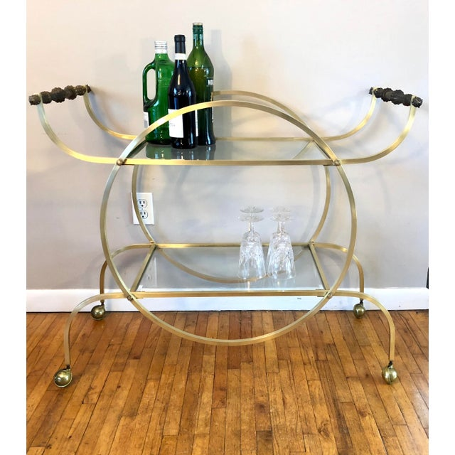 Mid 20th Century Hollywood Regency Style Brass Bar Cart With Beveled Glass Shelves For Sale - Image 5 of 11