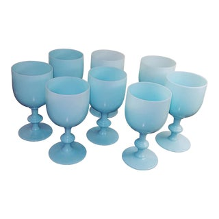 Vintage French Portieux Vallerysthal Opaline Blue Goblets - Set of 8 For Sale