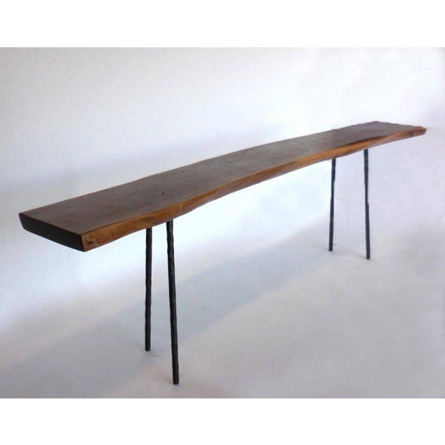 Contemporary Dos Gallos Studio Black Walnut Console With Iron Legs For Sale - Image 3 of 9