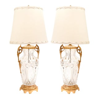 Large Bronze-Mounted / Cut Crystal Pair of Table Lamps For Sale
