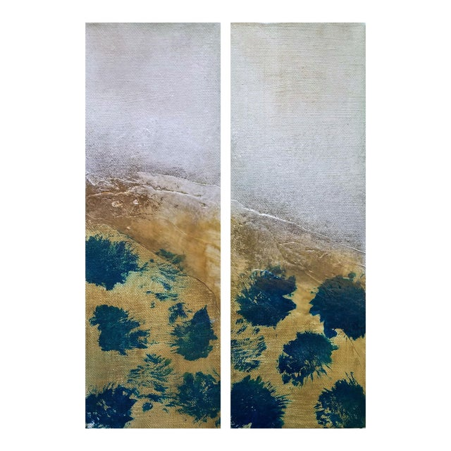 Drops of Jupiter Diptych Modern Abstract Textured Small Art Painting Set - a Pair - Image 1 of 6