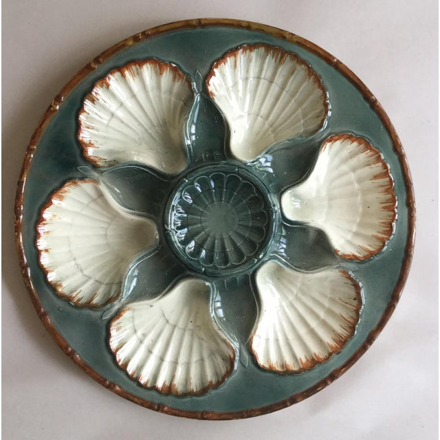 French 1900s French Majolica Oyster Plate For Sale - Image 3 of 3