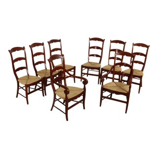 French Country Quality Cherry Rush Seat Ladder Back Dining Chairs 'AGR Paris' - Set of 8 For Sale