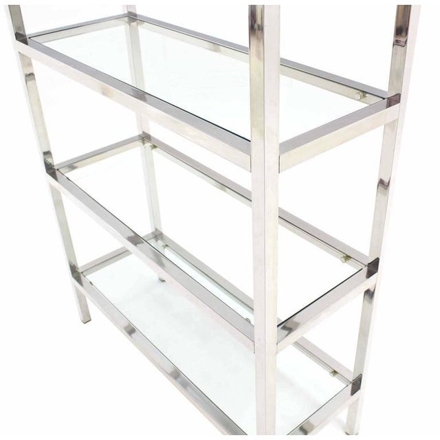 Mid-Century Modern Pair of Tall Glass 6 Tier Shelves Chrome Etageres For Sale - Image 3 of 6