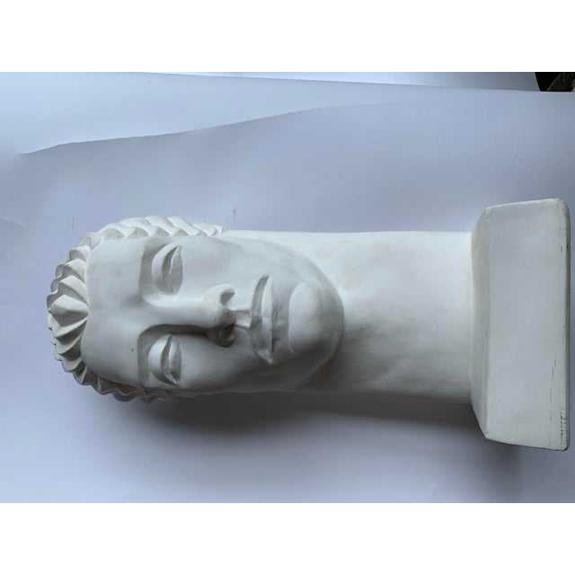1980s Post Modern Plaster Male Bust Sculpture For Sale - Image 4 of 7