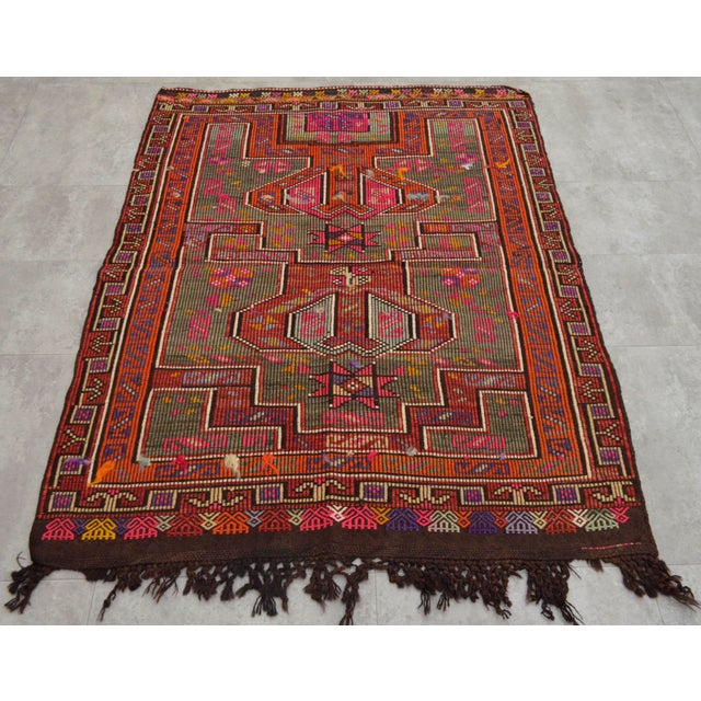 Islamic Turkish Rug Hand Woven Tribal Kilim Rug - 3′10″ X 4′11″ For Sale - Image 3 of 8