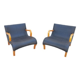 Scandanavian Style Woven Leather Lounge Chairs- a Pair For Sale
