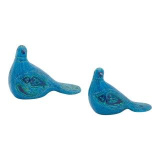 Blue Ceramic Birds by Aldo Londi for Bitossi Raymor - a Pair For Sale