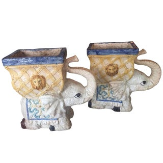 Vintage Italian Glazed Garden Stool Planters Elephants -A Pair For Sale