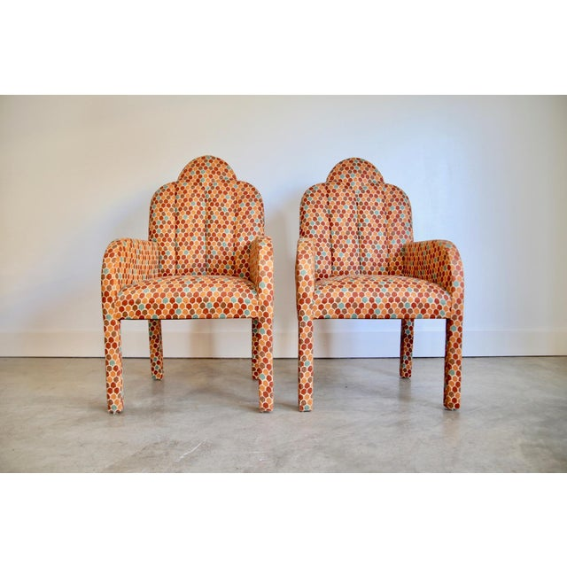 Textile Scalloped Postmodern Armchairs- A Pair For Sale - Image 7 of 13