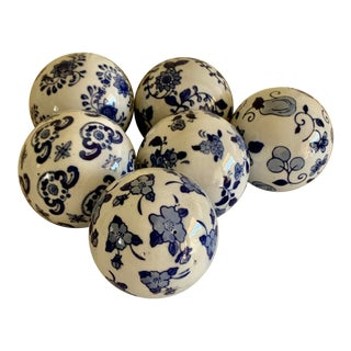 Set of Six Blue & White Ceramic Decor Spheres Balls For Sale