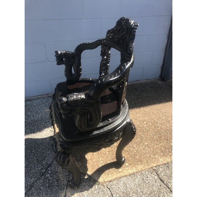 Asian Qing Dynasty Carved Ebonized Rosewood Dragon Phoenix Throne Chair For Sale - Image 3 of 12