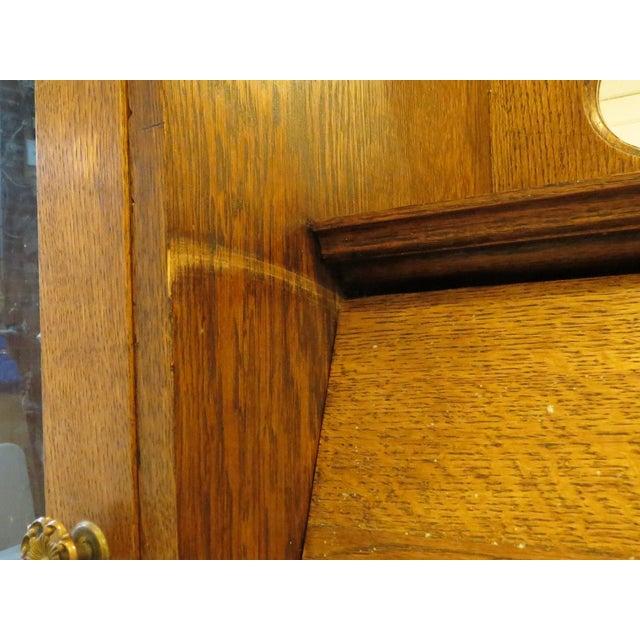 Primitive Oak Secretary Curio Cabinet For Sale - Image 3 of 11