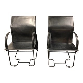 Italian Multi-Positional Leather Chairs - a Pair
