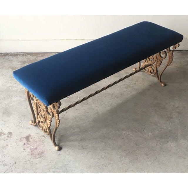 1930s Art Nouveau Blue Velvet Gilded Cast Iron Bench For Sale - Image 5 of 13