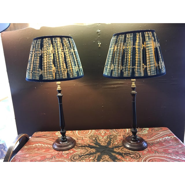 Vintage Turned Wood and Brass Lamps With Hand Made Silk Ikat Shades - a Pair For Sale In Philadelphia - Image 6 of 8
