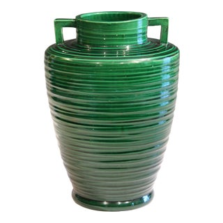 Vintage 1920s Awaji Art Deco Buttress Monochrome Japanese Pottery Green Vase For Sale