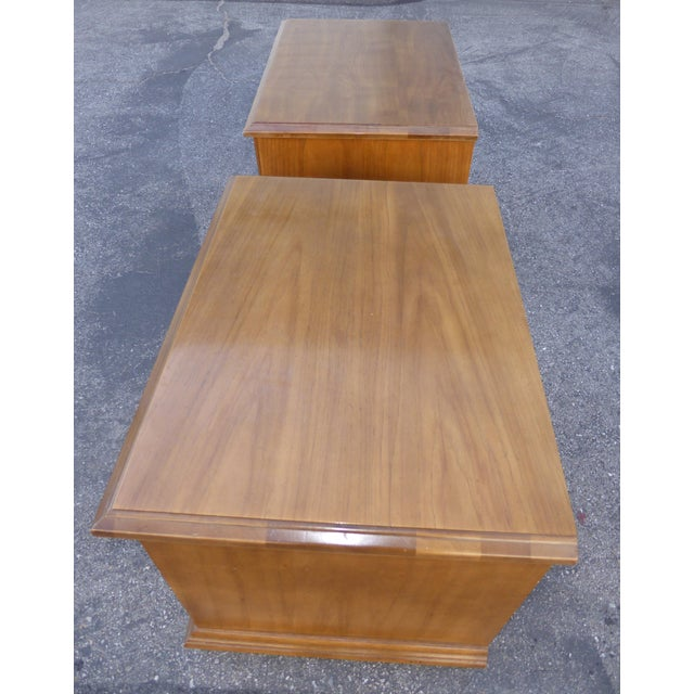 Mid Century Modern Drexel Two Drawer Solid Wood Nightstands - a Pair - Image 8 of 11