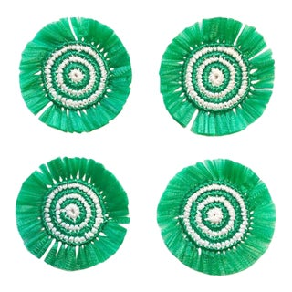 Green & White Woven Fringe Coasters - Set of 4 For Sale