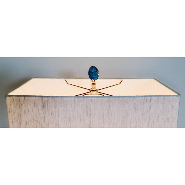 Deep Blue Geode Stone Lamp Finials A Pair Chairish