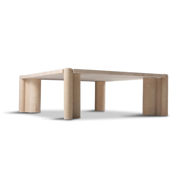 Gae Aulenti Gae Aulenti Jumbo Travertine Square Coffee Table For Sale - Image 4 of 9