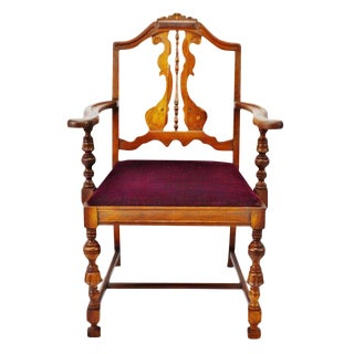 Antique Jacobean Arm Chair With Burgundy Velvet Cushion For Sale