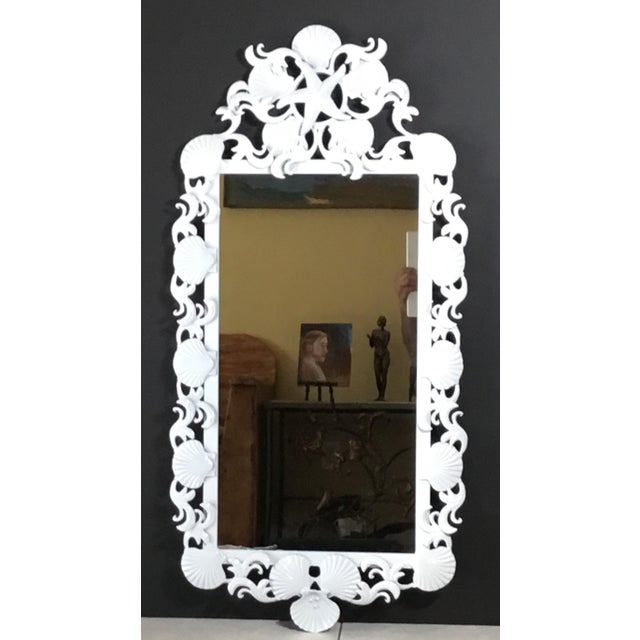 White Seashell Iron Mirrors - a Pair For Sale - Image 8 of 13