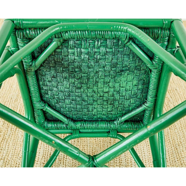 Baker Trompe l'Oeil Card Table With Rattan Armchairs For Sale - Image 11 of 13
