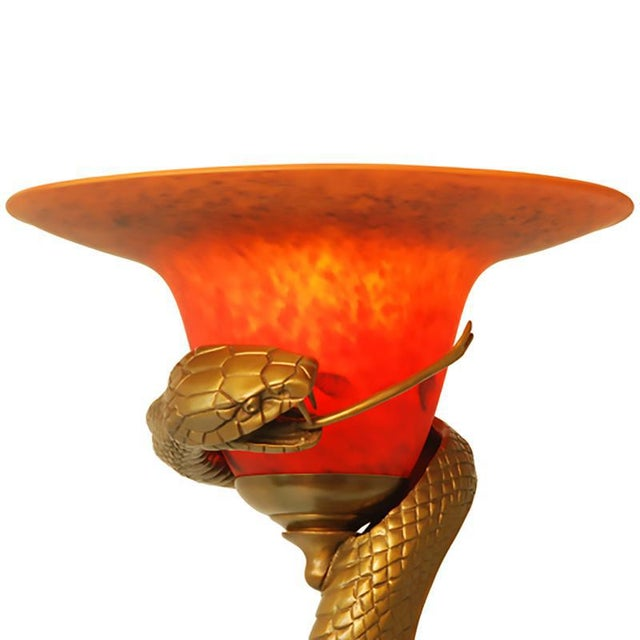 Art Deco Edgar Brandt Style Hand Caste Bronze Snake Floor Lamp For Sale - Image 3 of 5
