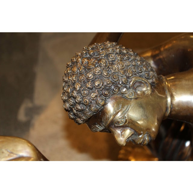 Brass Blackamoor Coffee Table Bases- A Pair For Sale In Palm Springs - Image 6 of 8