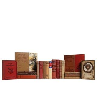 Vintage Brown & Red Wild West Book Set, S/20 For Sale