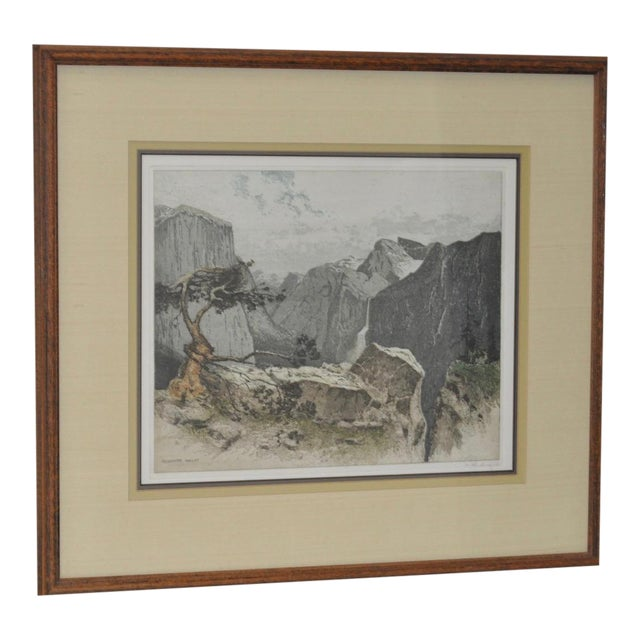 Yosmite Valley Etching by Josef Eidenberger For Sale
