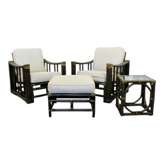 Mid Century Modern Ficks Reed Patio Lounge Chairs Ottoman & Side Table 60s - Set of 4 For Sale