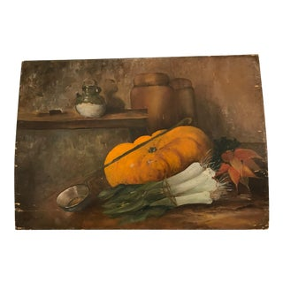 Antique French Still Life of Pumpkin & Leeks