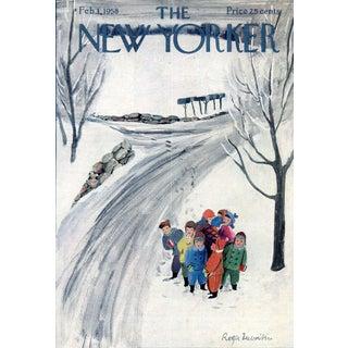 Vintage 1958 New Yorker Cover, February 1 (Roger Duvoisin), Winter For Sale